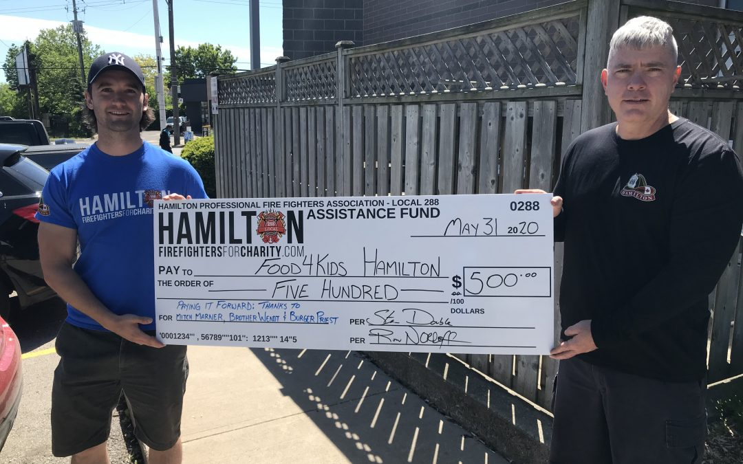 HPFFA Pays it Forward to Food4Kids thanking Mitch Marner & the Burger's Priest